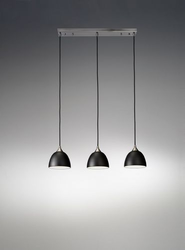 Franklite FL2290/3/930 Satin Nickel & Black glass with Gold interior Pendant Light